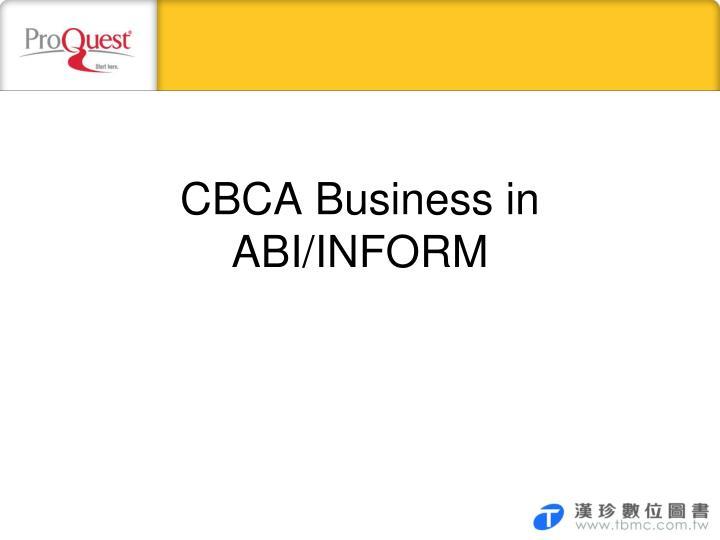 CBCA Business in ABI/INFORM