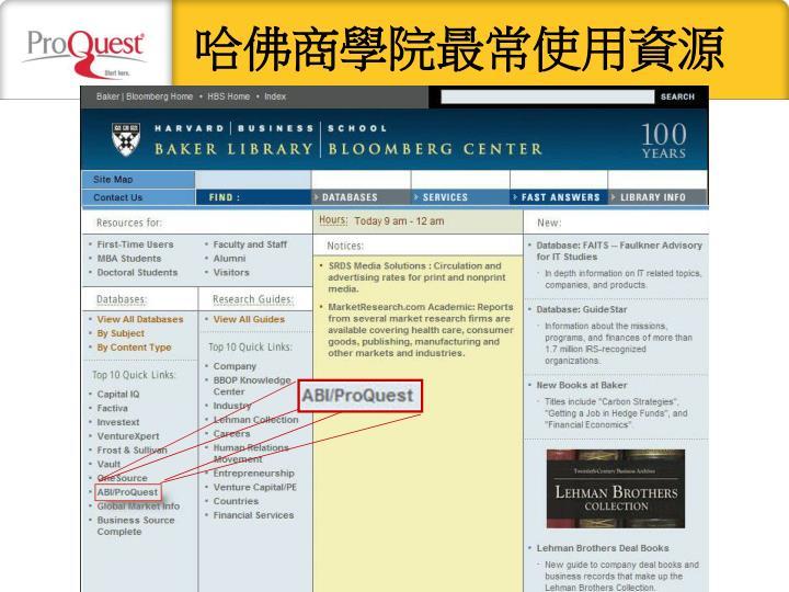 哈佛商學院最常使用資源