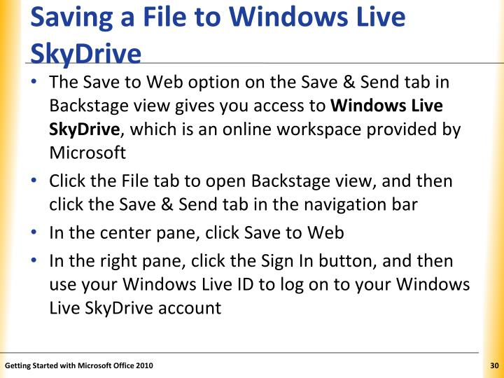 Saving a File to Windows Live SkyDrive