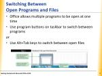switching between open programs and files