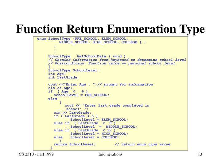 Function Return Enumeration Type