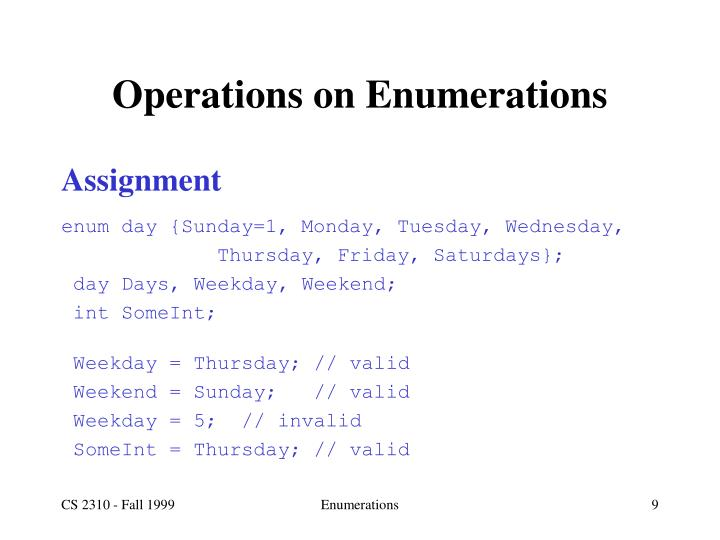 Operations on Enumerations