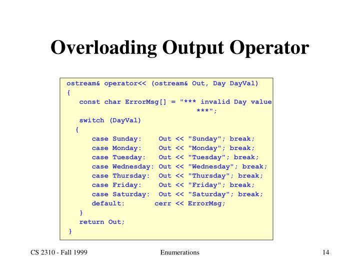 Overloading Output Operator
