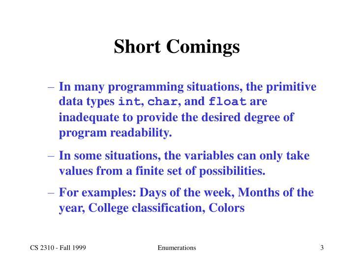 Short Comings
