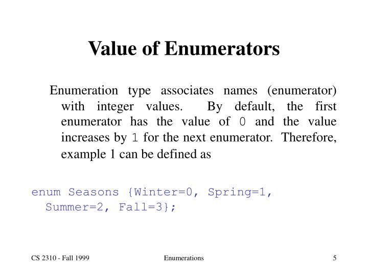 Value of Enumerators