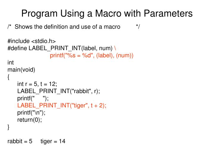 Program Using a Macro with Parameters