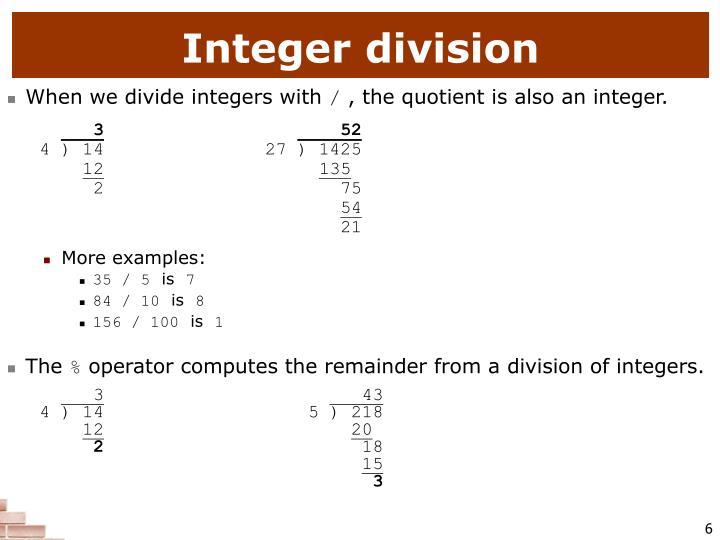 Integer division