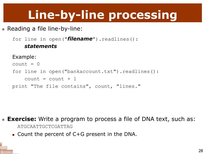 Line-by-line processing