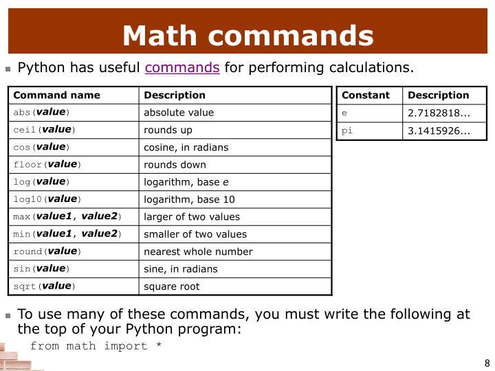 Math commands