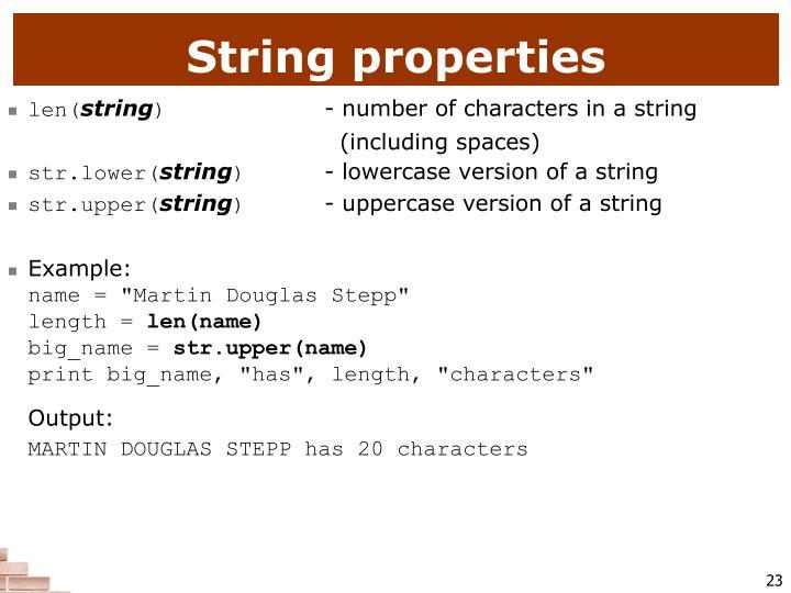 String properties