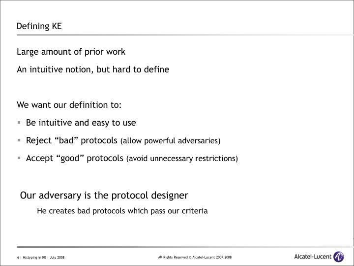 Defining KE
