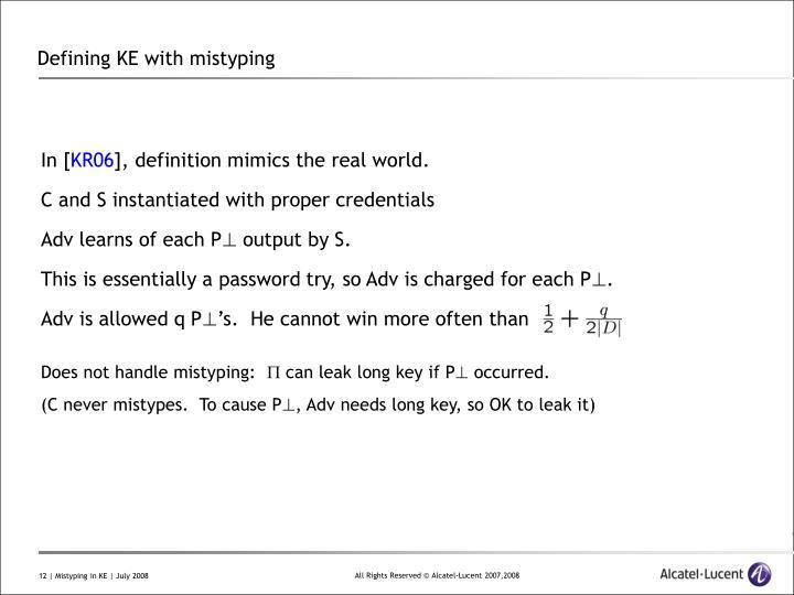 Defining KE with mistyping