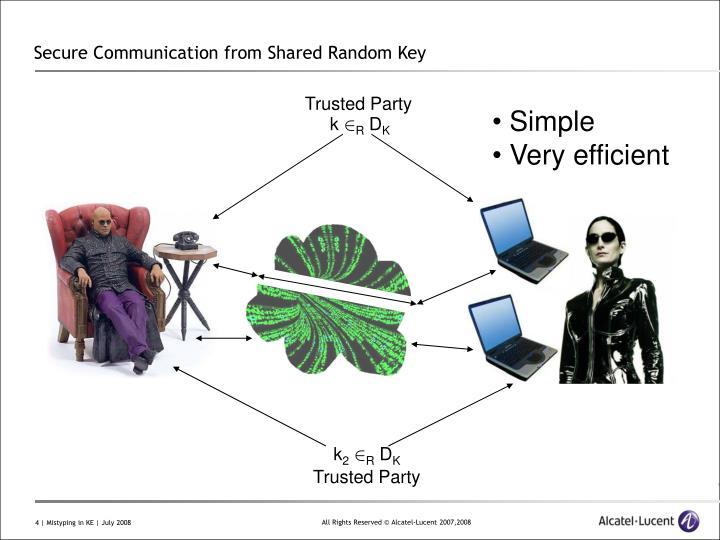 Secure Communication from Shared Random Key