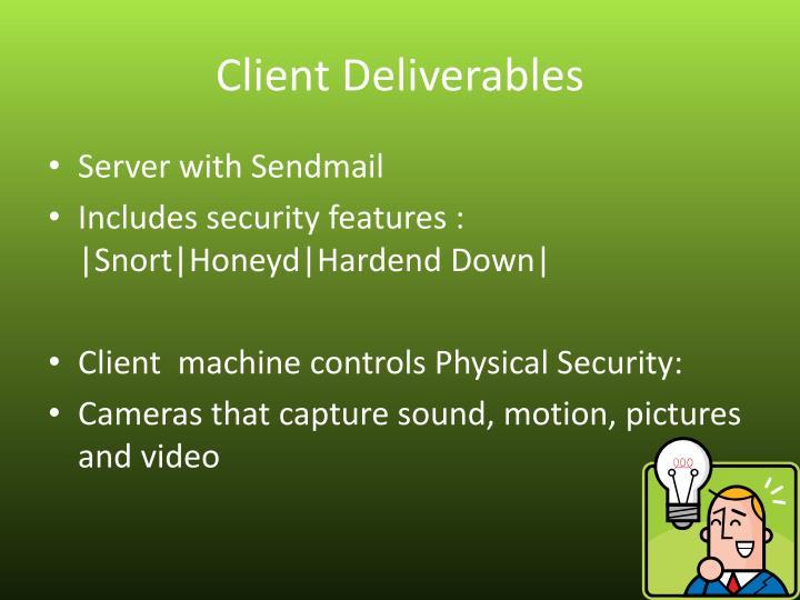 Client Deliverables