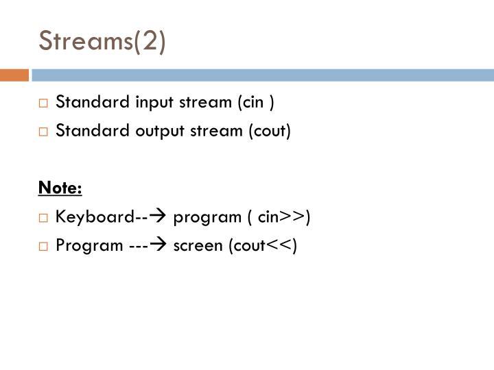 Streams(2)