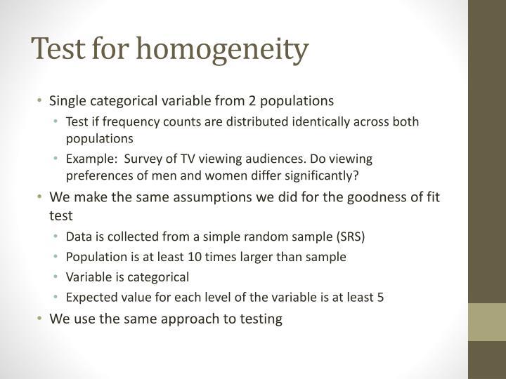 Test for homogeneity