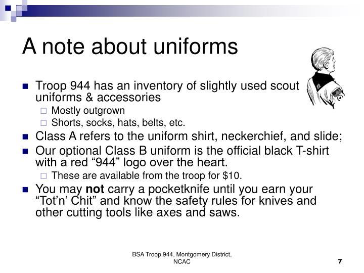 A note about uniforms