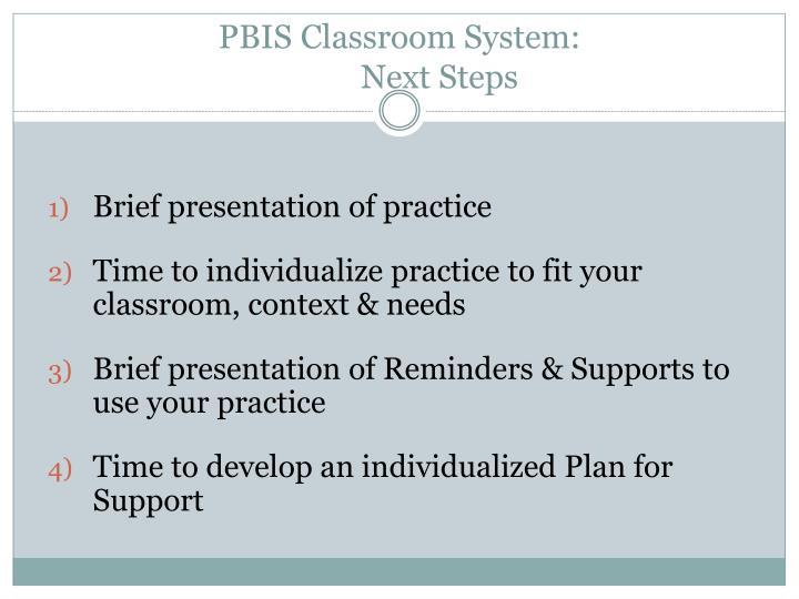 PBIS Classroom System: