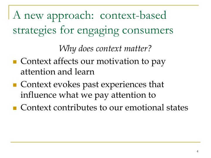 A new approach:  context-based strategies for engaging consumers