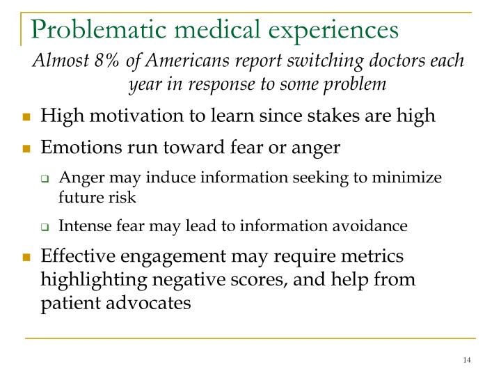 Problematic medical experiences