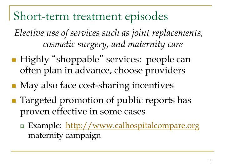 Short-term treatment episodes