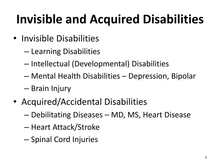 Invisible and Acquired Disabilities