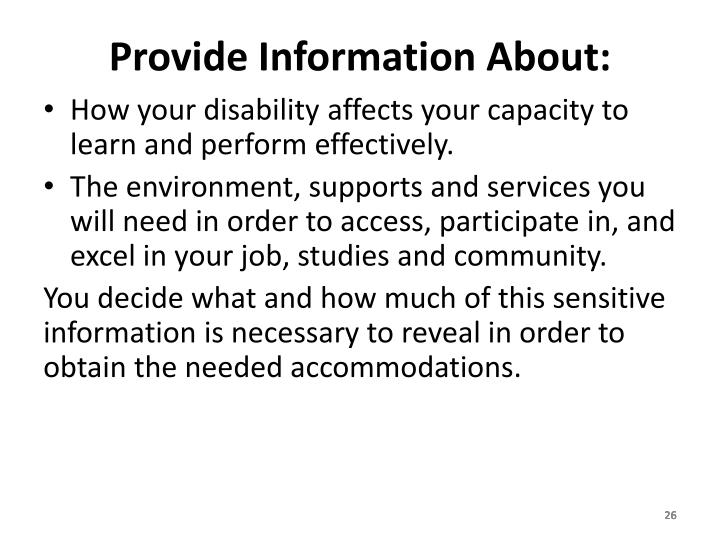 Provide Information About: