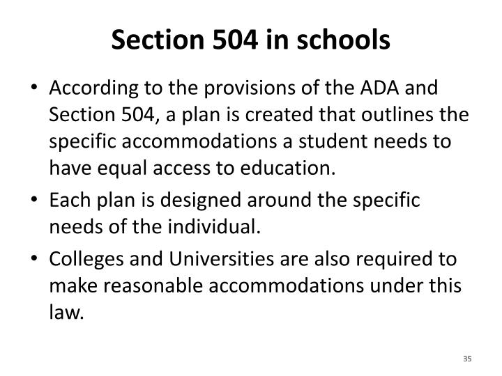 Section 504 in schools