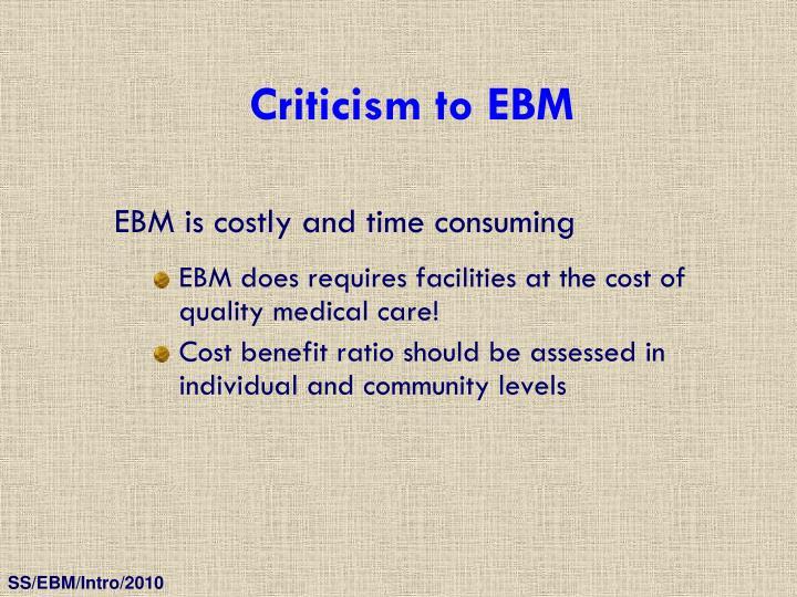 Criticism to EBM