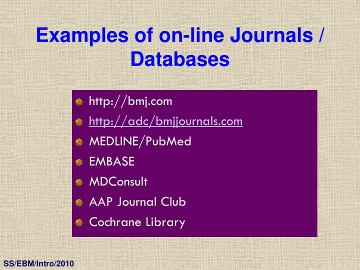 Examples of on-line Journals / Databases