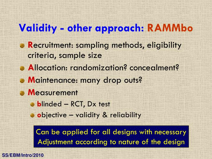 Validity - other approach: