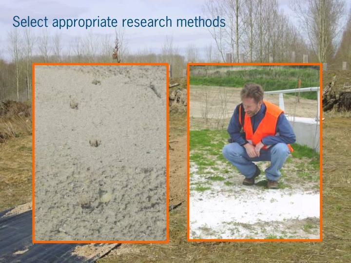 Select appropriate research methods