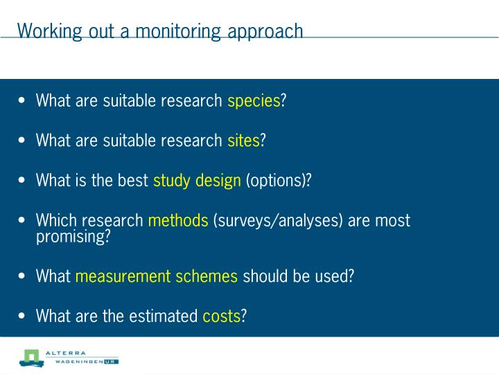 Working out a monitoring approach