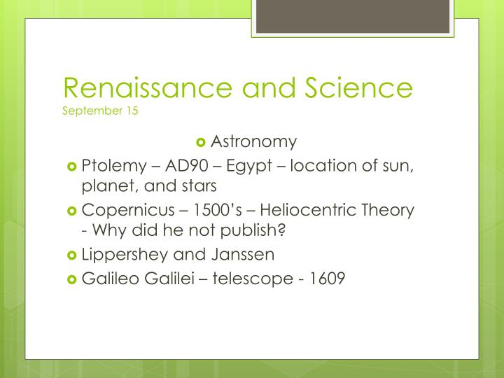 Renaissance and Science