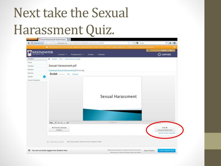 Next take the Sexual Harassment Quiz.