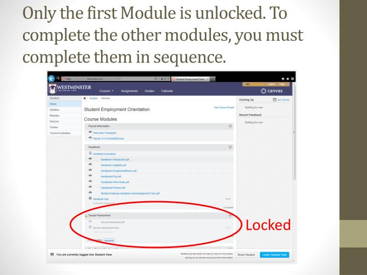 Only the first Module is unlocked. To complete the other modules, you must complete them in sequence.