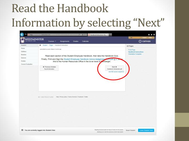 "Read the Handbook Information by selecting ""Next"""