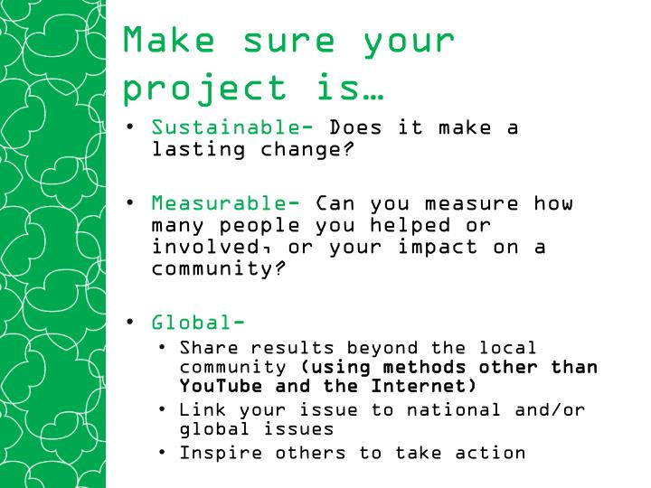 Make sure your project is…