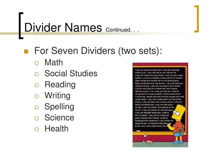 Divider Names
