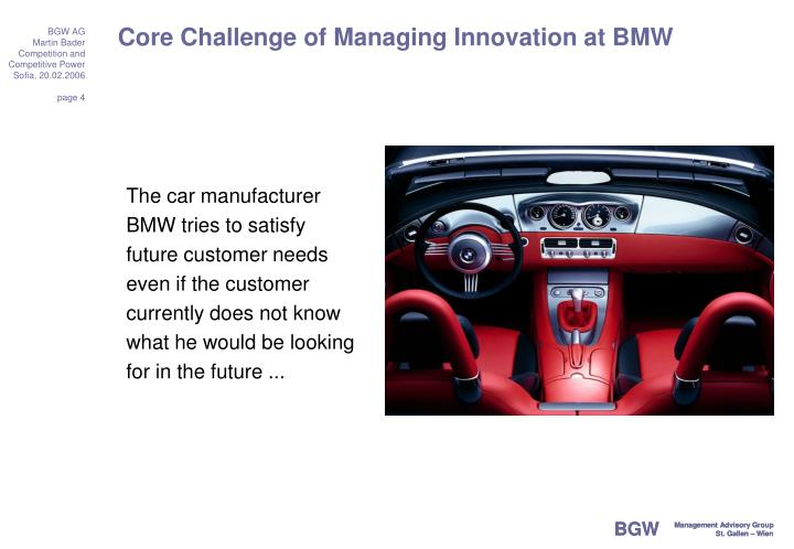 Core Challenge of Managing Innovation at BMW