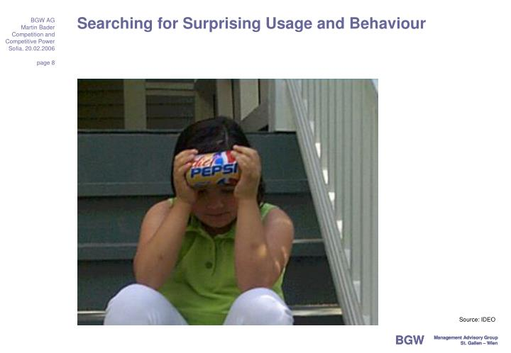Searching for Surprising Usage and Behaviour