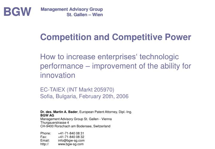 Competition and Competitive Power
