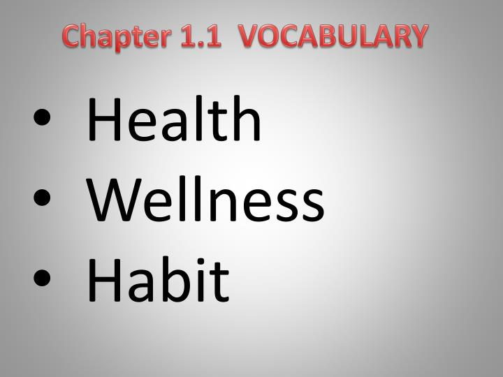 Chapter 1.1  VOCABULARY