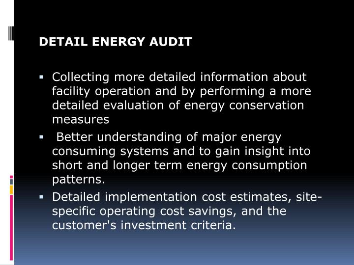 DETAIL ENERGY AUDIT