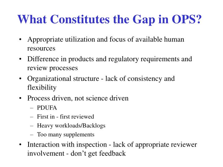 What Constitutes the Gap in OPS?