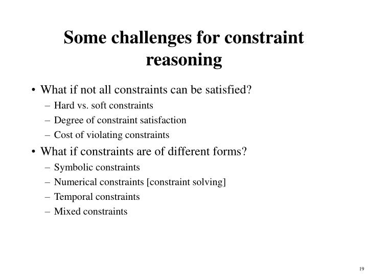 Some challenges for constraint reasoning