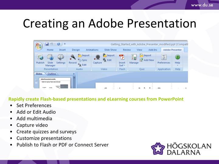 Creating an Adobe Presentation