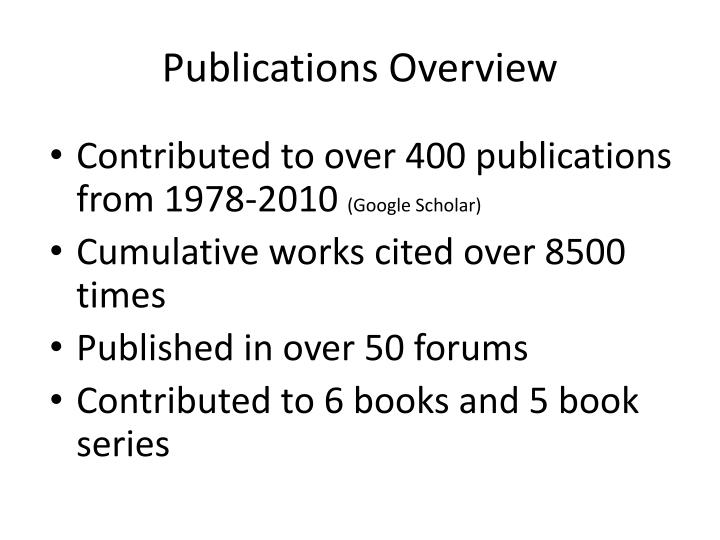 Publications Overview