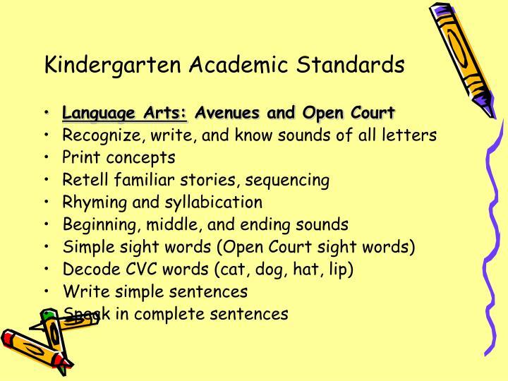 Kindergarten Academic Standards