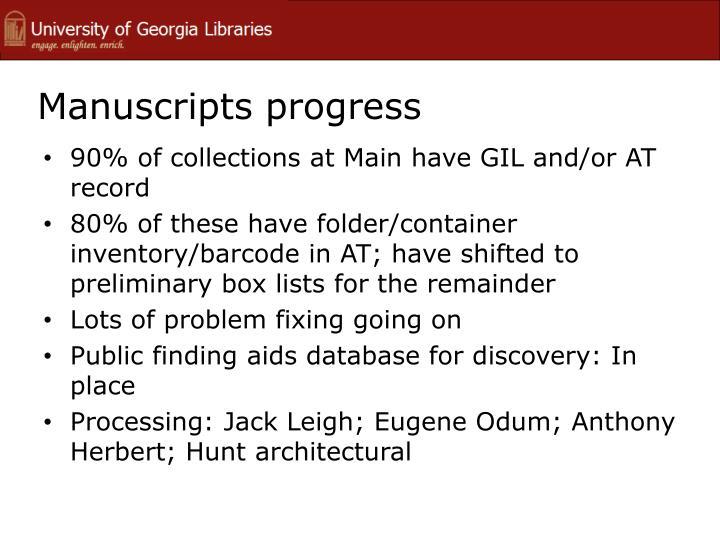 Manuscripts progress